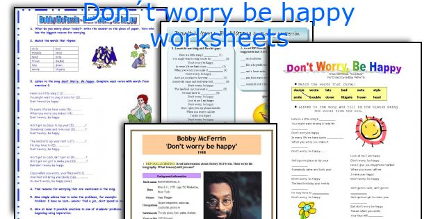 Don´t worry be happy worksheets