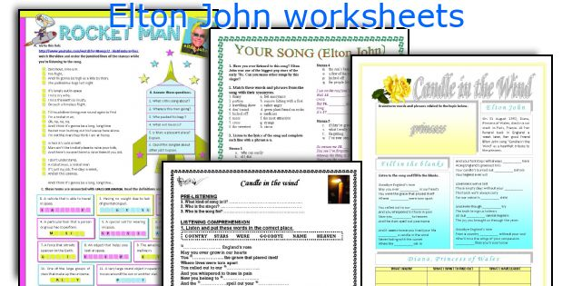 Elton John worksheets