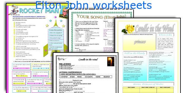 Elton John worksheets