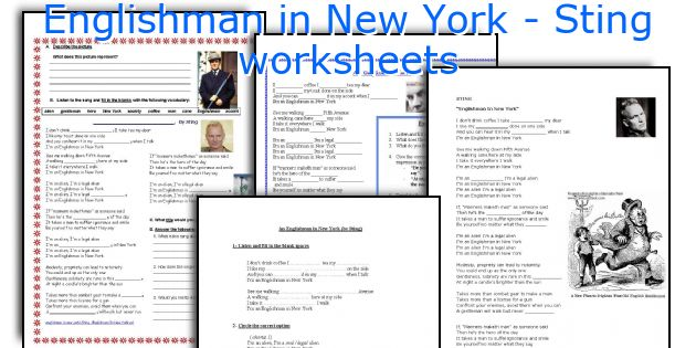 Englishman in New York - Sting worksheets
