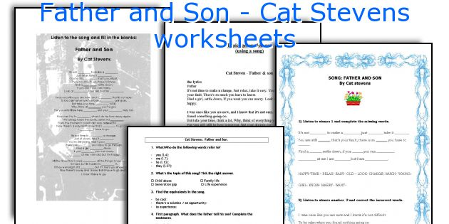 Father and Son - Cat Stevens worksheets