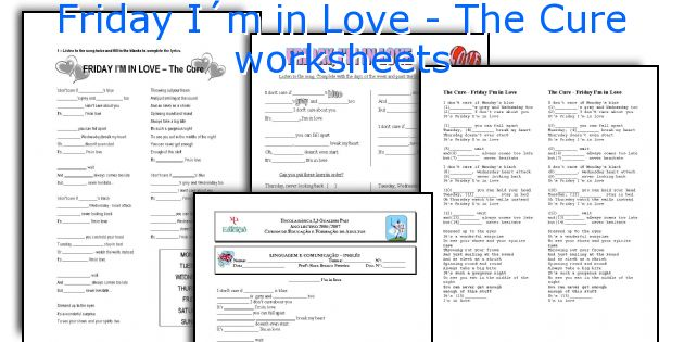 Friday I´m in Love - The Cure worksheets
