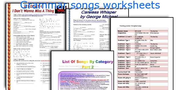 Grammar songs worksheets