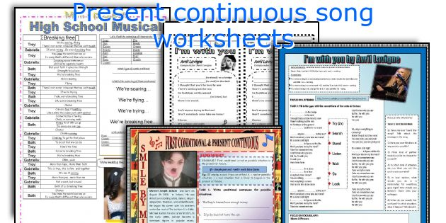 Present continuous song worksheets