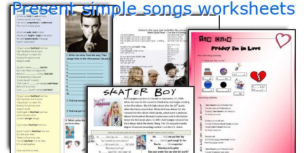 Present Simple Songs Worksheets