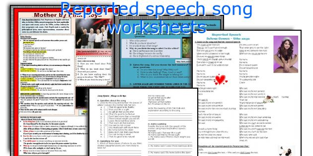 Reported speech song worksheets