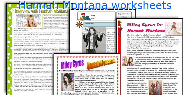 Hannah Montana worksheets