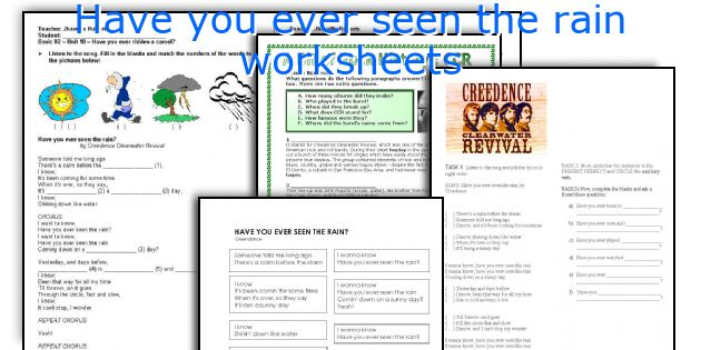 Have you ever seen the rain worksheets