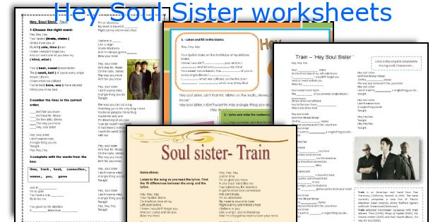 Hey Soul Sister worksheets