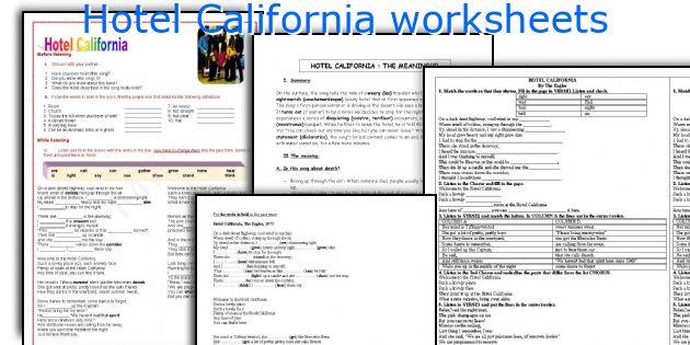 Hotel California worksheets