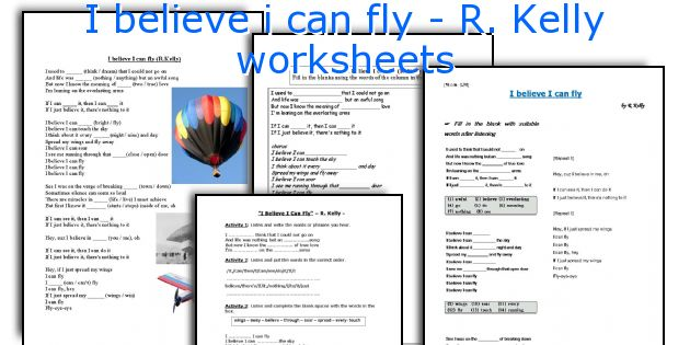I believe i can fly - R. Kelly worksheets