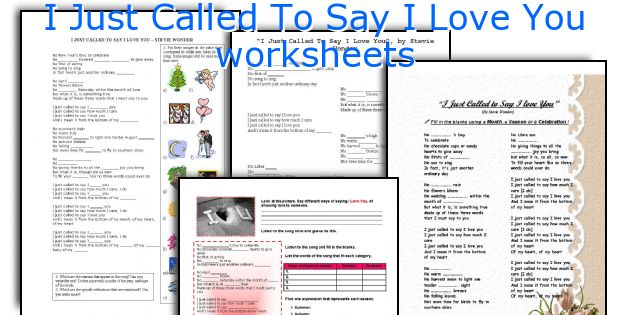 I Just Called To Say I Love You worksheets