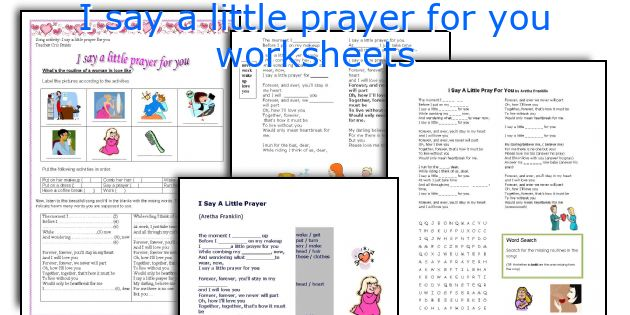 I say a little prayer for you worksheets
