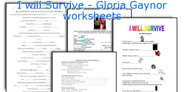 I will Survive - Gloria Gaynor worksheets