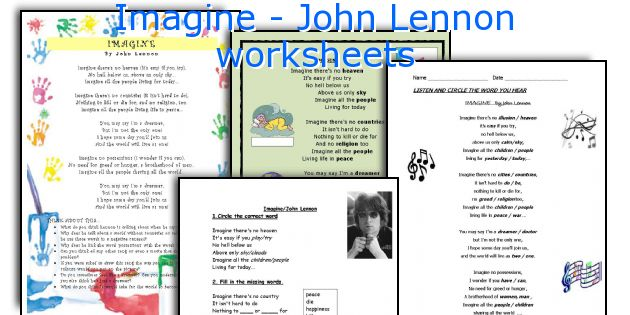 Imagine - John Lennon worksheets