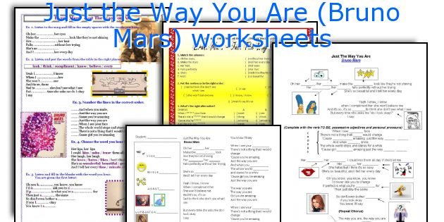Just the Way You Are (Bruno Mars) worksheets