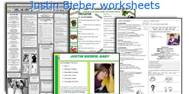 Justin Bieber worksheets