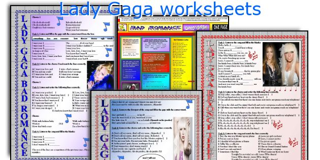 Lady Gaga worksheets