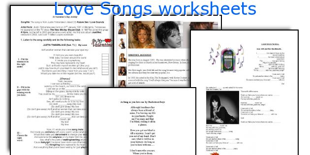 Love Songs worksheets