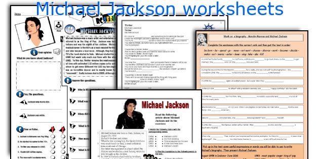 Michael Jackson worksheets