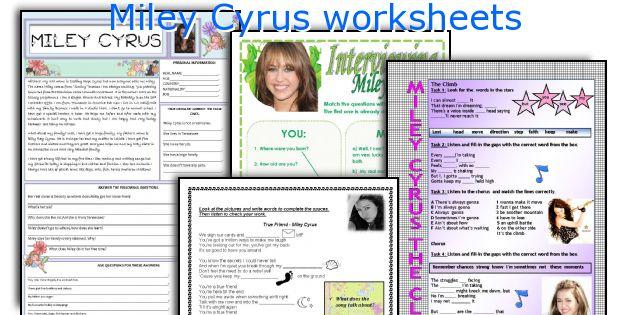 Miley Cyrus worksheets