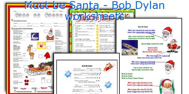 Must be Santa - Bob Dylan worksheets