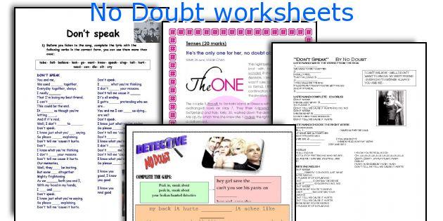 No Doubt worksheets