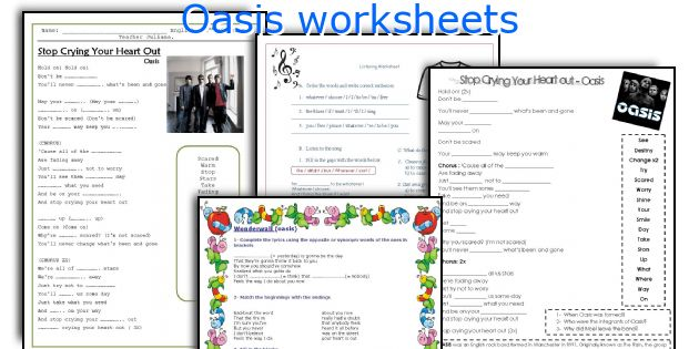 Oasis worksheets