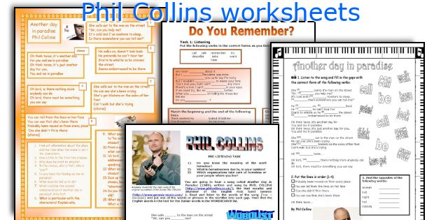Phil Collins worksheets