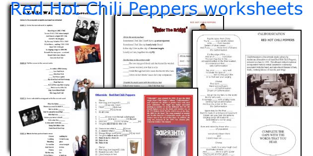 Red Hot Chili Peppers worksheets