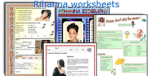 Rihanna worksheets