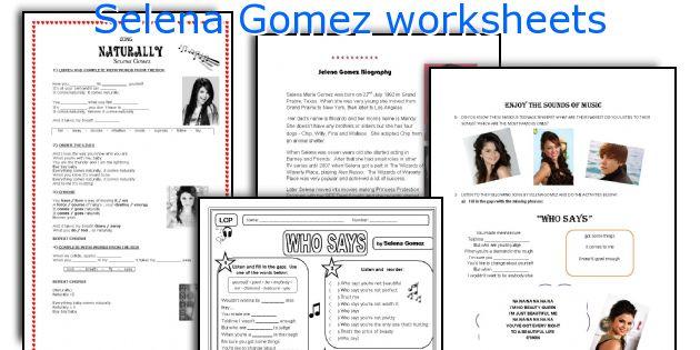 Selena Gomez worksheets