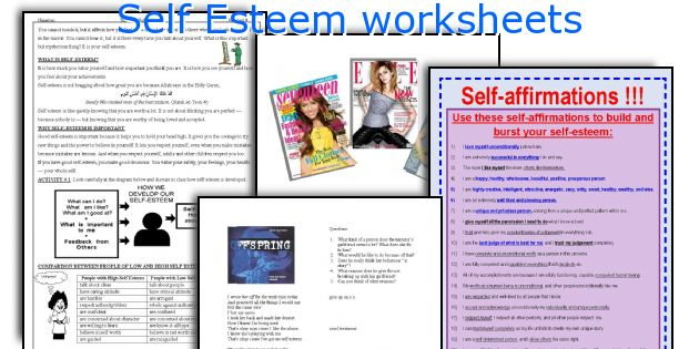 English teaching worksheets Self Esteem – Self Esteem Worksheets for Teens