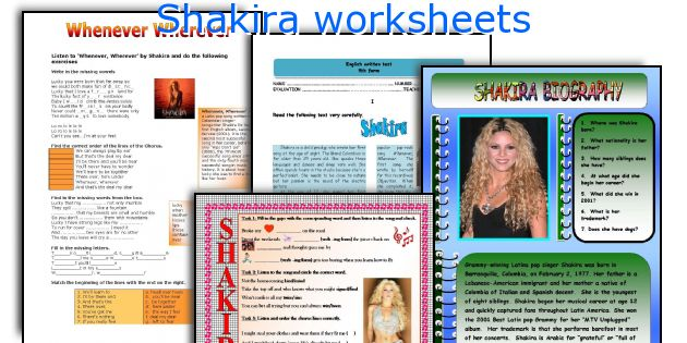Shakira worksheets