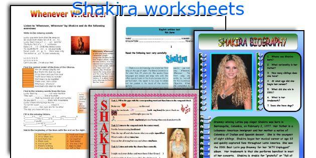 Shakira worksheets