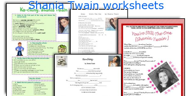 Shania Twain worksheets