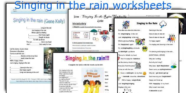 Singing in the rain worksheets