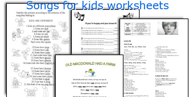 Songs for kids worksheets