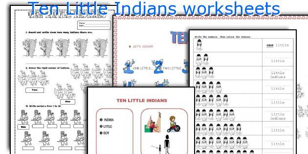 Ten Little Indians worksheets