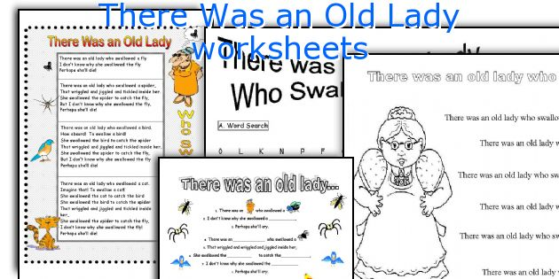 There Was an Old Lady worksheets