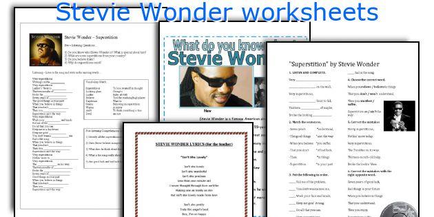 Stevie Wonder worksheets
