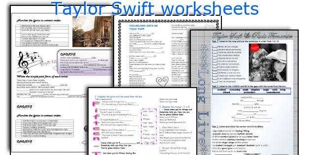 Taylor Swift worksheets