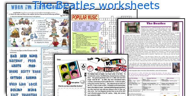 The Beatles worksheets