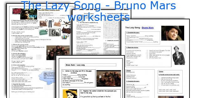 The Lazy Song - Bruno Mars worksheets