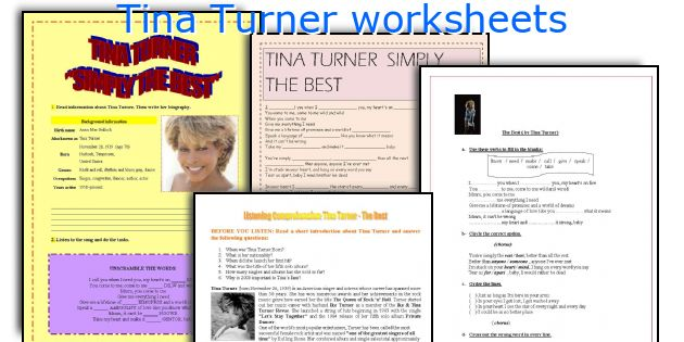 Tina Turner worksheets