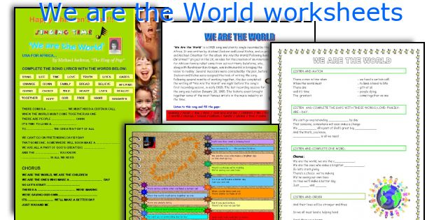 We are the World worksheets