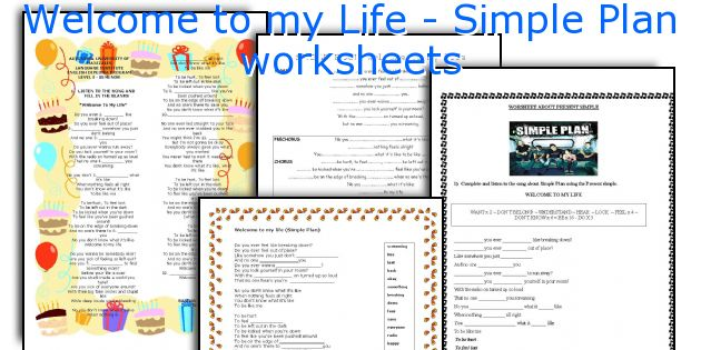 Welcome to my Life - Simple Plan worksheets