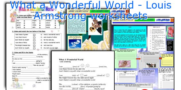 What a Wonderful World - Louis Armstrong worksheets