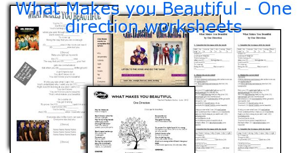 What Makes you Beautiful - One direction worksheets
