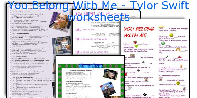 You Belong With Me - Tylor Swift worksheets